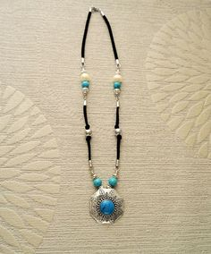 Turquoise Pendant Necklace  Black Leather Necklace with by KRAMIKE