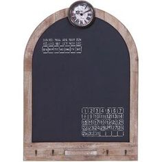 """Arched blackboard wall calendar.     Product: Blackboard wall calendar    Construction Material: Wood    Color: Black   Features:   Evoke bustling flea markets and old general stores    Warmly weathered detail for rustic-chic appeal   Dimensions: 33"""" H x 24"""" W x 2"""" D"""