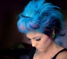 crazy hair, color mix, short hair, purple hair, cotton candy, hair colors, blue hair, big hair, scene hair