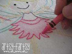 artsy-fartsy mama: fairy stitchery & tutorial using crayons for filling in