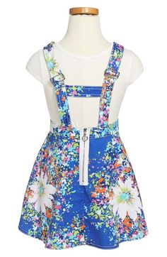 Truly Me Two-Piece Overall Dress (Toddler Girls, Little Girls & Big Girls) | Nordstrom