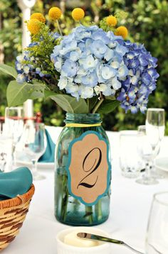 hydrangeas and mason jars paired together for this great centerpiece.