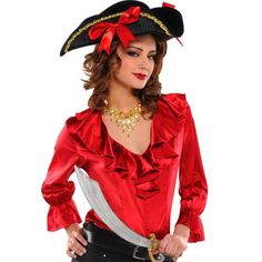 Adult Red Pirate Blouse