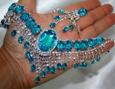 Aqua Rhinestone Austrian Crystal Choker Necklace Earring Set Pageant Bridal #Unbranded
