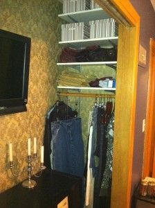 angled closet storage idea with hanging rod