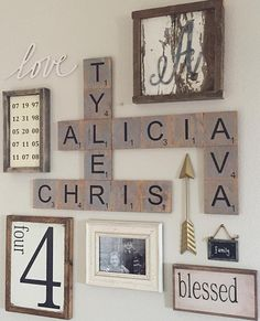 DIY Wood family scrabble tile wall art - so cute!! More