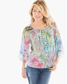 """This tee's abstract design, finished with flowy kimono sleeves, offers a fresh take on floral.    3/4-sleeves.   Regular length: 26"""".   Petite length: 24."""".    Polyester.     Machine wash. Imported."""