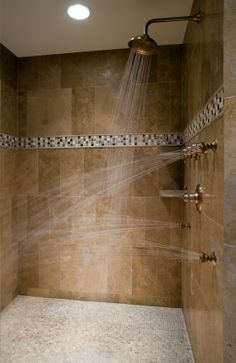 Now we're talking!  That's my kind of shower!  Walk in shower with spa qualities!