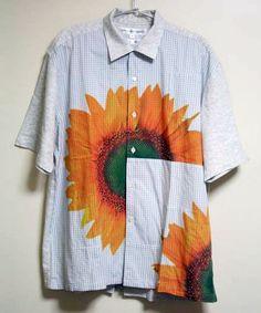 panelled sunflower print shirt • comme des garçons SHIRT 13,000 円