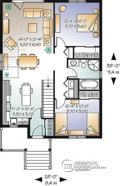 W3126-V1 - Small and affordable Bungalow house plan, open floor plan ...