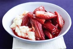 Rhubarb and strawberries become even more spectacular when roasted with maple syrup.
