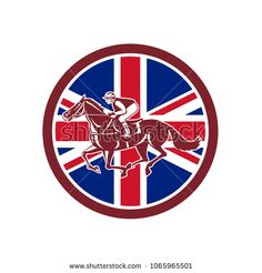 Icon retro style illustration of a British jockey or equestrian horse racing viewed from side with United Kingdom UK, Great Britain Union Jack flag set inside circle on isolated background.  #equestrian #retro #illustration