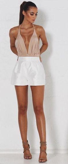 Nude Bodysuit + White Shorts                                                                             Source