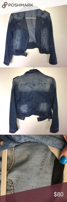 studded denim jacket (cropped, size 10) 💖Size 10 cropped denim/jean jacket💖 bought a couple years ago from urban but only worn a couple of times. open to offers! comment any questions xxx Urban Outfitters Jackets & Coats Jean Jackets