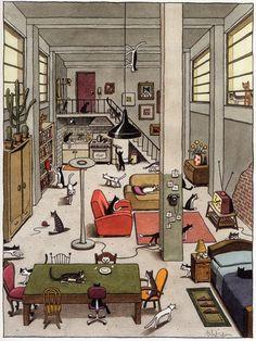 Wo sind die Katzen? Was machen die Katzen? Verben und Präpositionen üben.