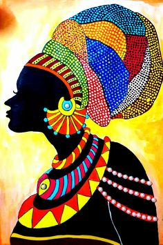 Best 12 Gallery – Here is my finished African Lady Portrait made with my design which I will frame soon. African Art Paintings, Dot Art Painting, Africa Art, African American Art, Tribal Art, Mandala Art, Female Art, Art Drawings, Art Projects