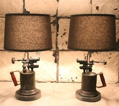Industrial Pair of Lamps Made From Antique Blowtorches Paired with Gray Linen Shades Rustic Lighting, Industrial Lighting, Vintage Lighting, Cool Lighting, Lighting Design, Diy Lampe, Steampunk Lamp, Pipe Lamp, Lampshades