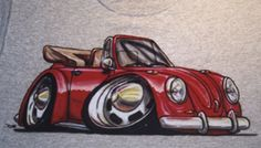 Cartooned airbrushed  VW Beetle convertible on t-shirt
