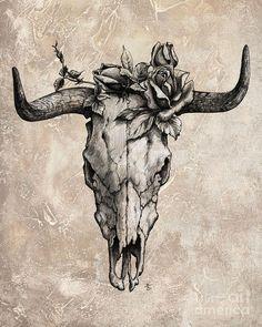 Bull Skull And Rose von Emerico Imre Toth - Stierschädel und Rose – Emerico Imre Toth Tattoo, Stier Konstellation, Sti - Pixel Tattoo, Cow Skull Tattoos, Animal Tattoos, Bull Skulls, Animal Skulls, Animal Skeletons, Future Tattoos, New Tattoos, Tatoos