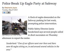 Cops breaking up eagle parties. | 27 Crazy Things That Can Only Happen In Alaska