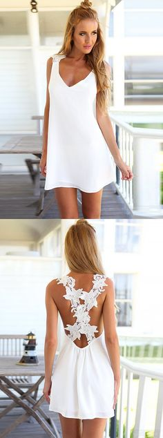 simple white homecoming dress,cirss cross back party gowns, summer outfits,cheap prom dresses with appliques