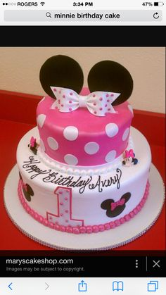 Ideas For Minnie Mouse Birthday Cake - Share this image!Save these ideas for minnie mouse birthday cake for later by share Minni Mouse Cake, Minnie Mouse Birthday Cakes, Minnie Cake, Mickey Mouse Clubhouse Birthday, Baby First Birthday Cake, Birthday Cake Girls, Birthday Ideas, 2nd Birthday, Image Minnie