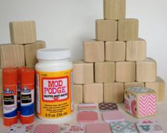 "DIY Wood Baby Blocks // Baby Girl // Baby Shower Craft // Family Craft // Childrens Blocks // Natural Wood Toy  Eh-ehm!  See the pin about using wood blocks to make pretend food using ads or Google images- or just do it ;). So, instead of pretty paper, use food labels to make ""groceries"" for your pretend store or kitchen!"