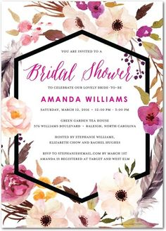 Flowery Circlet - Signature White Textured Bridal Shower Invitations - Good on Paper - Fuchsia - Pink : Front
