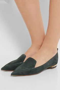 Nicholas Kirkwood - Beya Suede Point-toe Flats - Dark gray - IT36.5