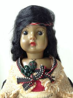 Vintage Maori Doll from NZ, stands approximately 32 cm, in full Maori dress, collectable