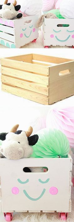 Smiley Crates | 18 DIY Toy Storage Ideas for Small Spaces that are pure genius!