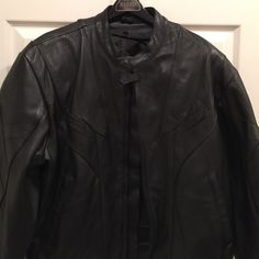 Men's Pro-Sport Black Leather Motorcycle Jacket Men's Pro Sport black leather motorcycle jacket.  Thick leather with no real sign of wear. Interior has a plush snap-in liner. 100% leather outer and 100% nylon interior liner. Wonderful condition.  Listing a pair of black leather motorcycle pants as well. Pro Sport Jackets & Coats