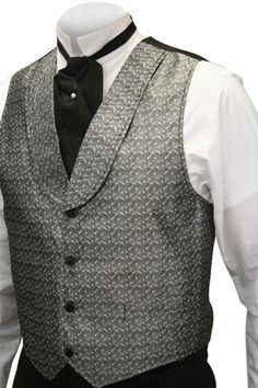 Mens Silver Print Shawl Collar Dress Vest |  Silverado Vest