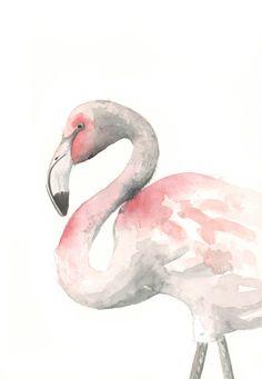 Flamingo Painting watercolor painting bird wildlife nature art pink - Archival print of watercolor painting 5 by 7 print Arches Watercolor Paper, Watercolor Bird, Watercolor Paintings, Bird Paintings, Watercolours, Flamingo Painting, Flamingo Art, Pink Flamingos, Art And Illustration