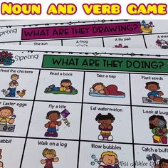 Spring Noun and Verb Game for Special Ed, Kindergarten Special Education, Kindergarten Lesson Plans, English Worksheets For Kids, Fun Worksheets, Autism Activities, Sorting Activities, Verb Games, Verbo To Be, Subject And Predicate Worksheets