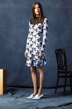 Erdem Resort 2016 // Accessorize a feminine floral dress with flat loafers