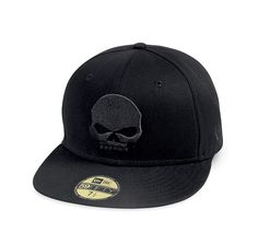 59FIFTY® Skull Baseball Cap - 100% cotton. Official 59FIFTY® silhouette by New Era. Embroidered skull graphics on front and Bar & Shield logo on back. Embroidered New Era flag logo on side. Includes the official 59FIFTY® visor sticker for authenticity. Fitted styling. 99400-14VM