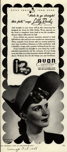 """Avon – """"Hats to go straight this fall,"""" says Lilly Dache (1941)"""