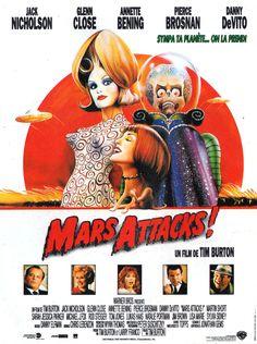 Mars Attacks! est un film de Tim Burton avec Jack Nicholson, Glenn Close. Synopsis : Effervescence sur la planète Terre. Les petits bonshommes verts ont enfin décidé de nous rendre visite. Ils sont sur le point d'atterrir dans leurs ru