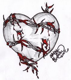 Grey Rose Flower And Barbed Wire Tattoos Designs Sad Drawings, Dark Art Drawings, Pencil Art Drawings, Art Drawings Sketches, Tattoo Drawings, Broken Heart Drawings, Broken Heart Art, Broken Heart Tattoo, Rosen Tattoo Klein