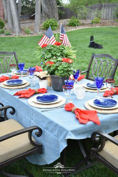Hosting at Home for the Holidays - Patriotic Tablescapes and entertaining ideas for your upcomping Fourth of July celebrations. Patriotic Party, Patriotic Decorations, Table Decorations, Patriotic Crafts, July Crafts, Birthday Decorations, Memorial Day Celebrations, Red Geraniums, Cool Tables