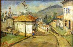 """JOSÉ MARIA DE ALMEIDA (1906 - 1995) """"Rua com fachadas e figuras"""", o.s.t, 0,27 X 0,40 m, assi"""