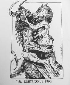 michelle draw halloween married wolf boy something got seemed fitting skull ink darkart darkartist