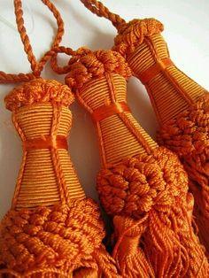 Orange Curtain Tassels, Indian Home Decor, Curtain Tiebacks, Set of 3 Beautiful detailed tassels from India. (plus top loop) Orange Zest, Burnt Orange, Orange Color, Orange Curtains, Drapes Curtains, Hermes Orange, Coral, Orange Aesthetic, Orange You Glad