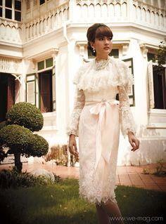 Gala Dresses, Cute Dresses, Formal Dresses, Thai Wedding Dress, Wedding Dresses, Model Dress Kebaya, Thai Traditional Dress, Women Church Suits, Thai Dress