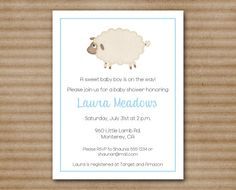 Lamb Baby Shower Invitation / Sheep / Boy / by PaperHouseDesigns, $10.00