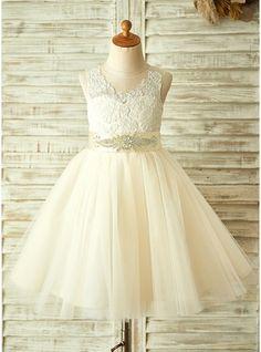 Vestidos princesa/ Formato A Coquetel Apliques de Renda Curvado Strass Tule Renda Sem magas Vestidos de Menina das Flores Vestido de daminha