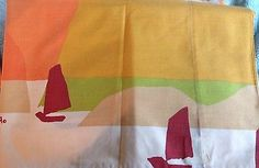 VTG Vera Sheet Set Orange Beige Green Brick Red Boats Full Size