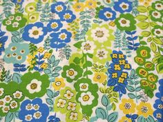 Retro style green blue and yellow floral quilting by pixiesthreads