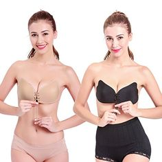 352a5a4dff56a 2 PCS Womens Ladies Seamless Adhesive Pushup Bra Reusable Strapless Magic  Self Stick On Gel Bras